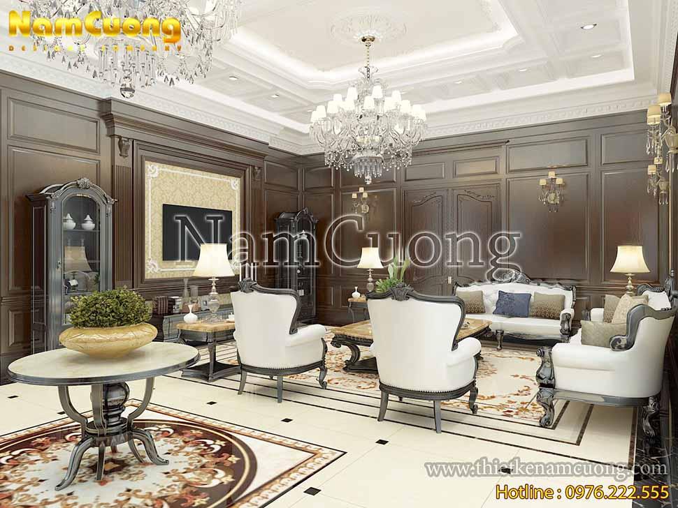 Thiết kế phòng khách tân cổ điển đẹp tại Sài Gòn