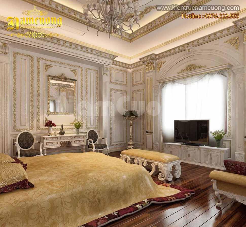 Thiết kế phòng ngủ 24m2 biệt thự Pháp