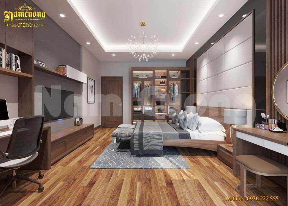 Nội thất bằng gỗ đẹp trong phòng ngủ hiện đại