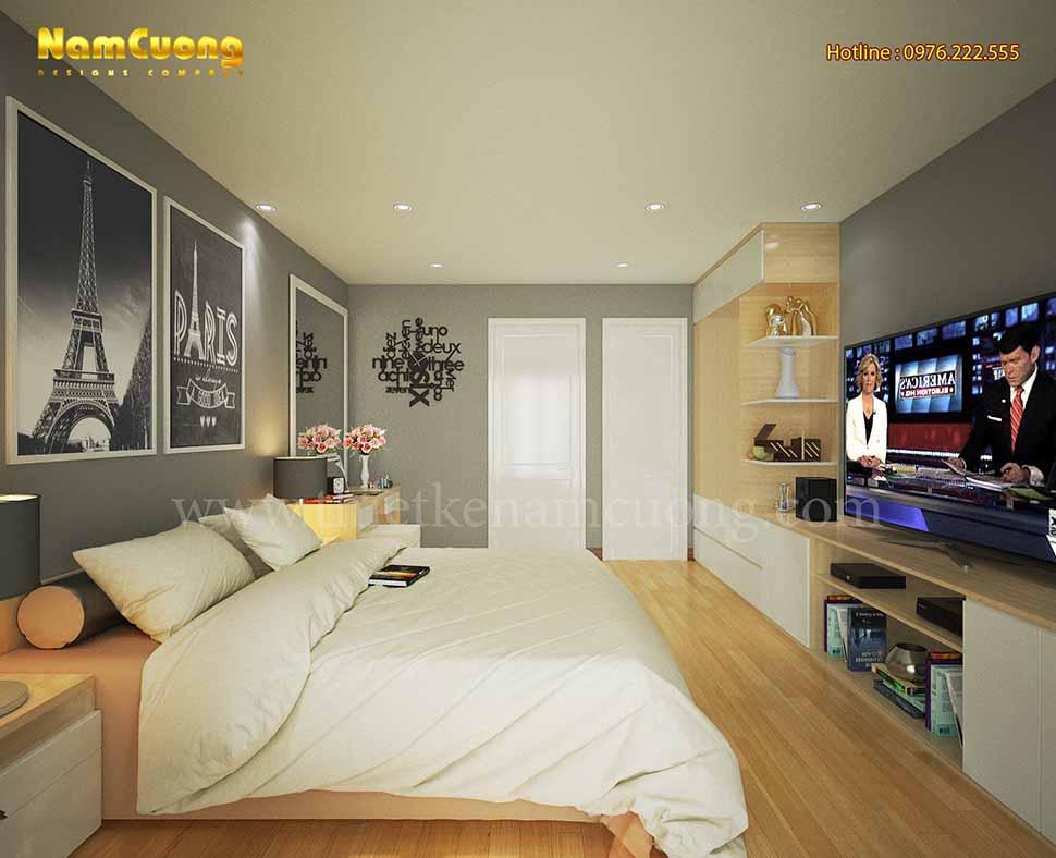 Phối cảnh nội thất phòng ngủ đẹp trong biệt thự