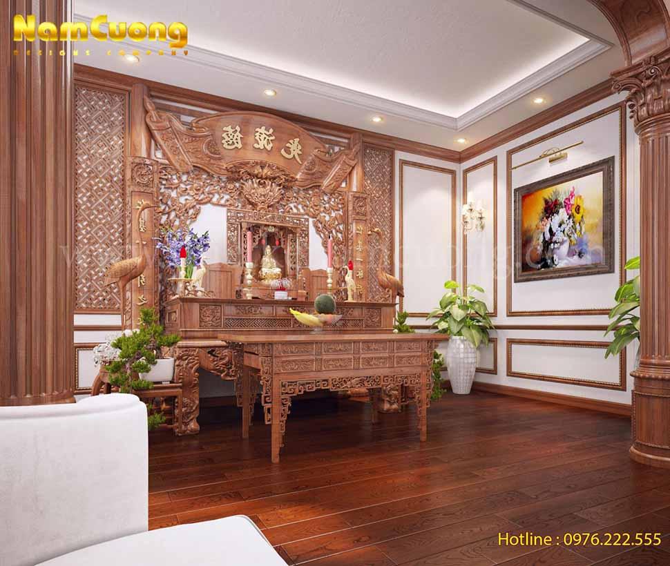 Thiết kế nội thất phòng thờ đẹp biệt thự