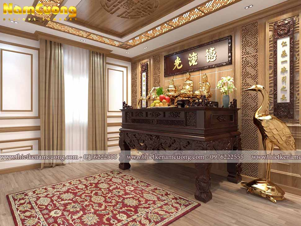 Thiết kế nội thất phòng thờ nhà biệt thự tân cổ điển