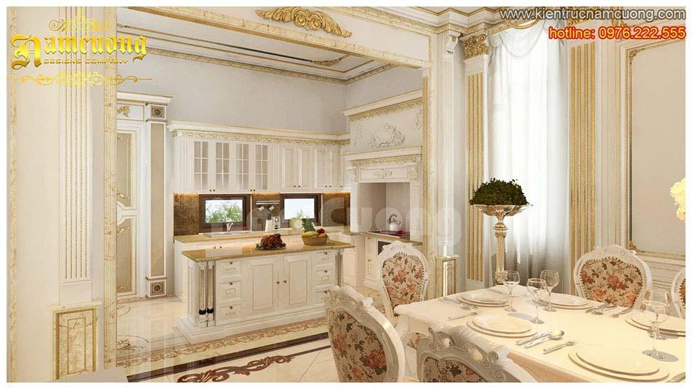 phòng bếp biệt thự châu âu
