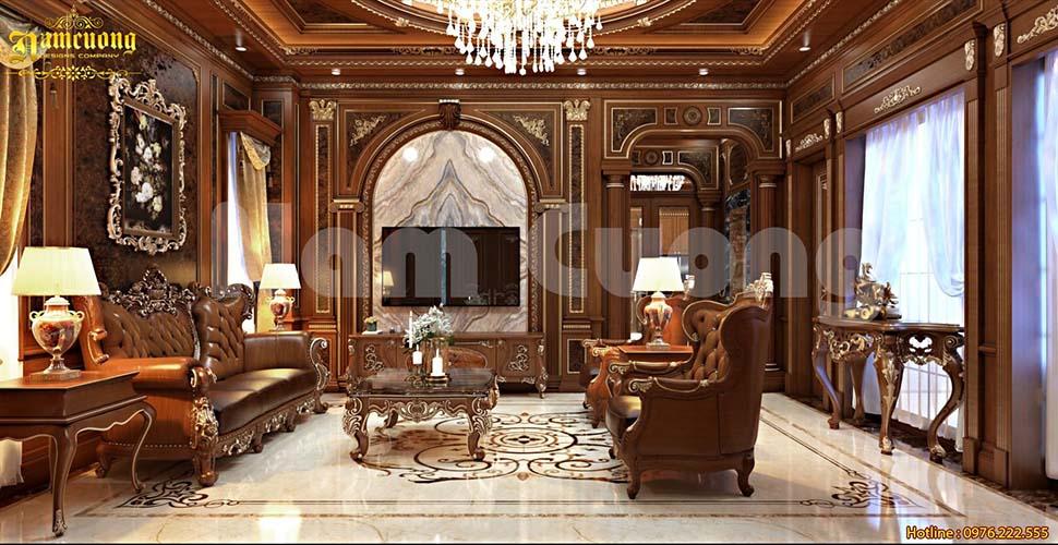 phòng khách biệt thự băng gỗ