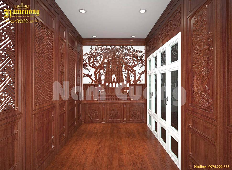 hành lang biệt thự bằng gỗ