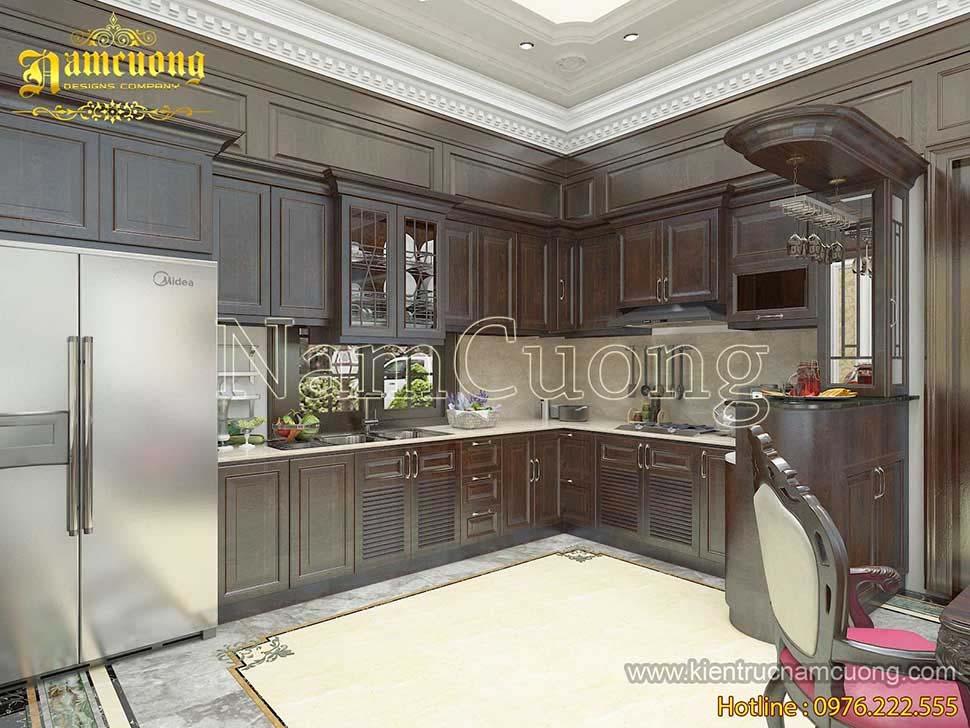 phòng bếp bằng gỗ
