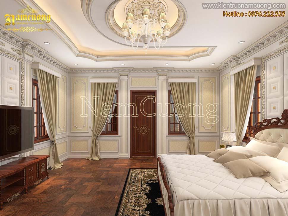 phòng ngủ biệt thự 3 tầng tân cổ điển