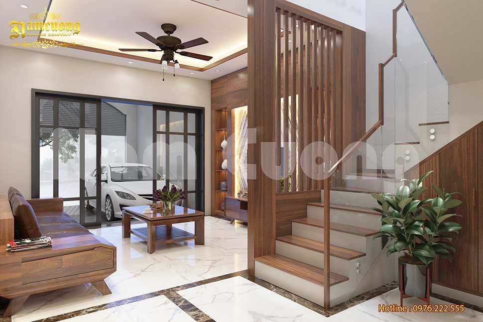 phòng khách tân cổ điển bằng gỗ