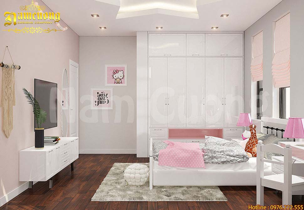 phòng ngủ trẻ em màu trắng